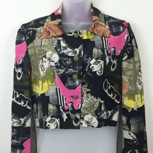 Handmade 80s Cropped Jacket Graphic Print Small